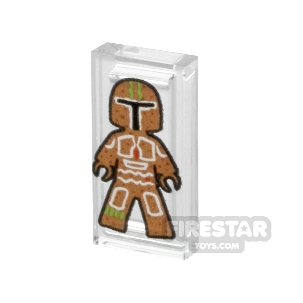 Printed Tile 1x2 SW Mandalorian Gingerbread