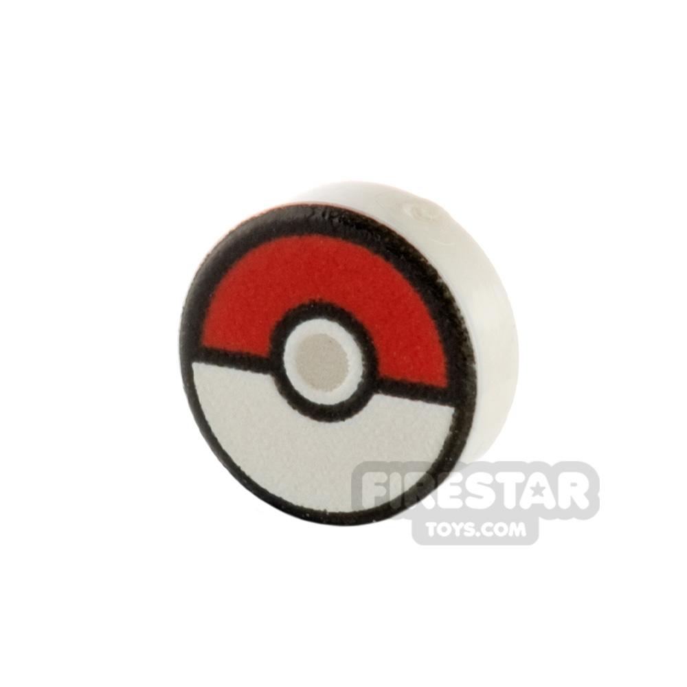 Printed Round Tile 1x1 Pokemon Poke Ball