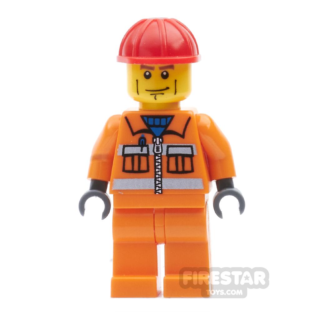LEGO City Mini Figure - Construction Worker - Orange Overalls 16