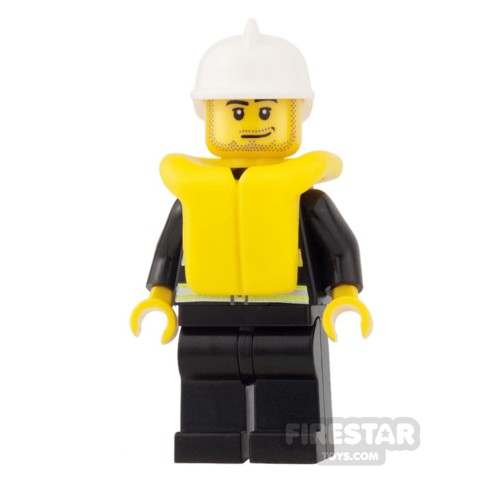 LEGO City Mini Figure - Fire - Life Jacket and Stubble
