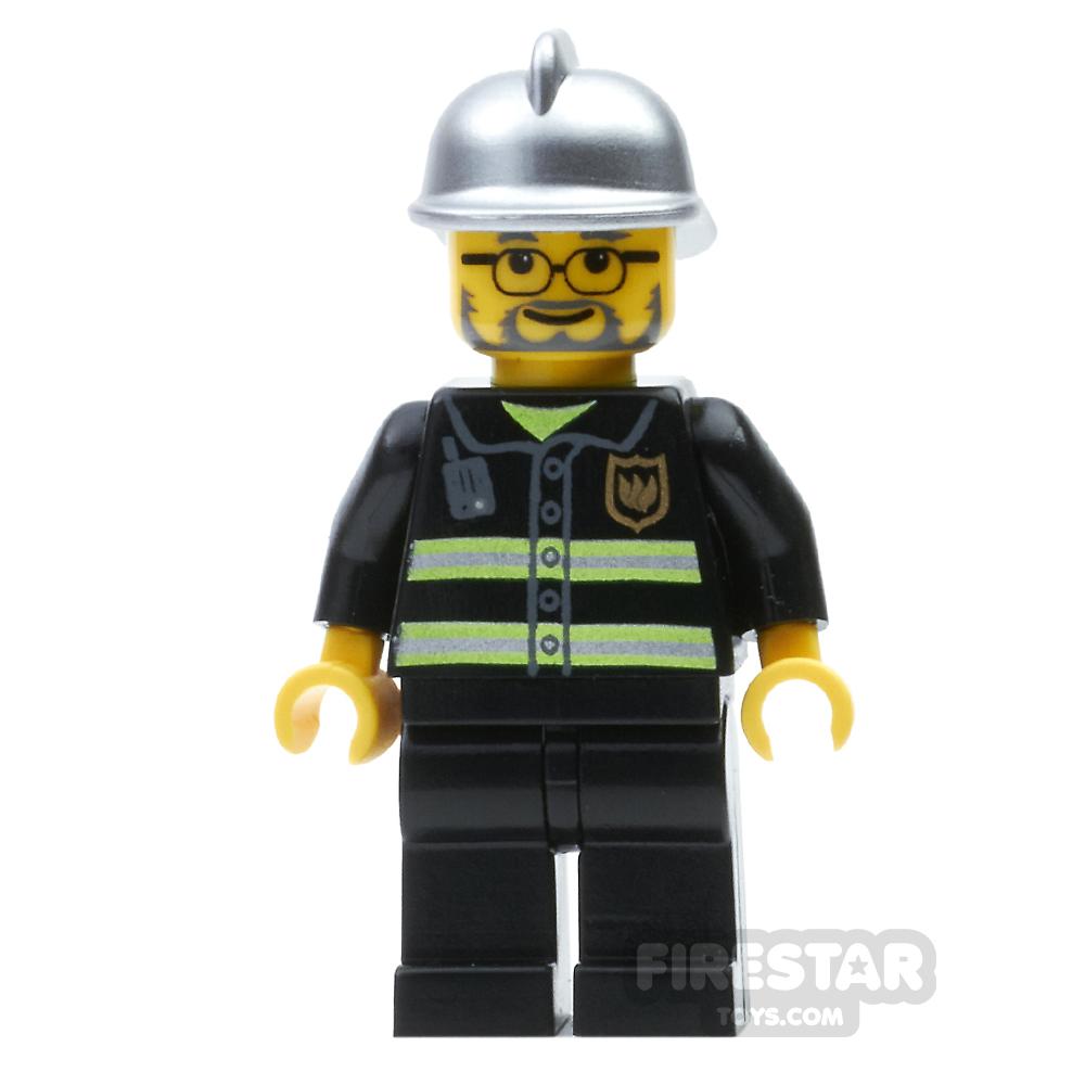 LEGO City Mini Figure – Fireman - Beard and Glasses