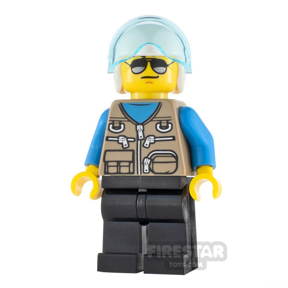 LEGO City Minifigure Helicopter Pilot Dark Tan Vest