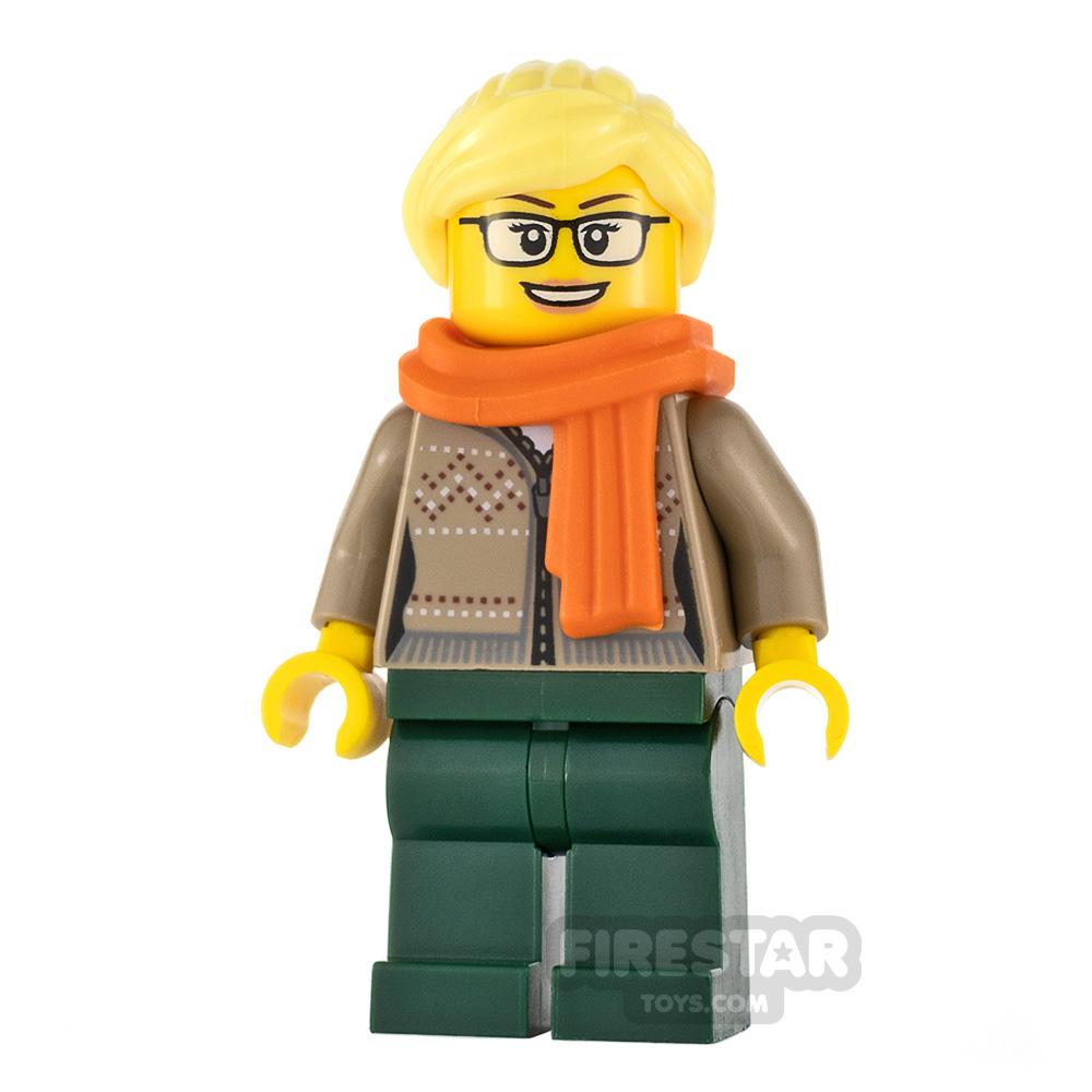 LEGO City Minifigure Drinks Stand Clerk Orange Scarf