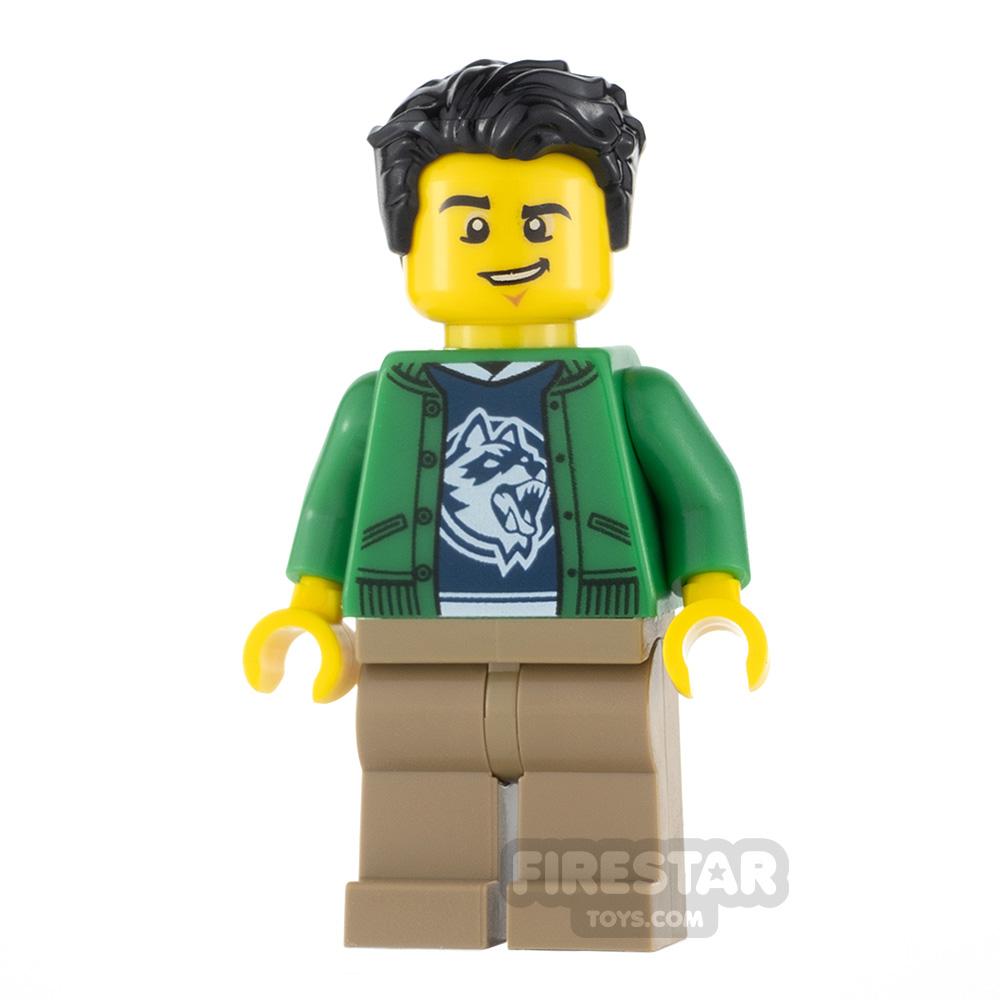 LEGO City Minifigure Ski Shop Clerk Raccoon Shirt