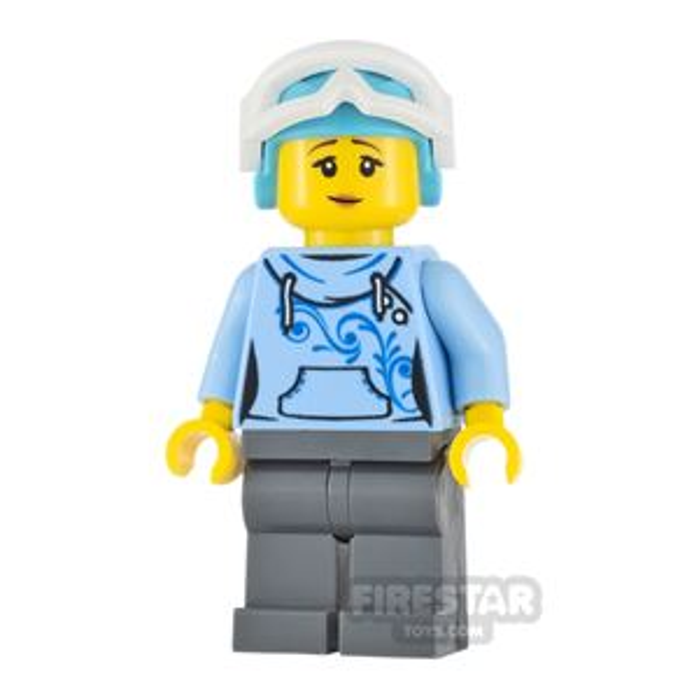 LEGO City Minifigure Skier Bright Light Blue Hoodie