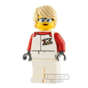 LEGO City Minifigure Female White and Red Jumpsuit