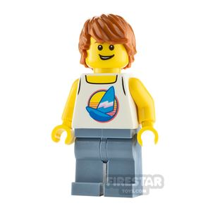 LEGO City Minfigure Male Surfer with White Tank Top