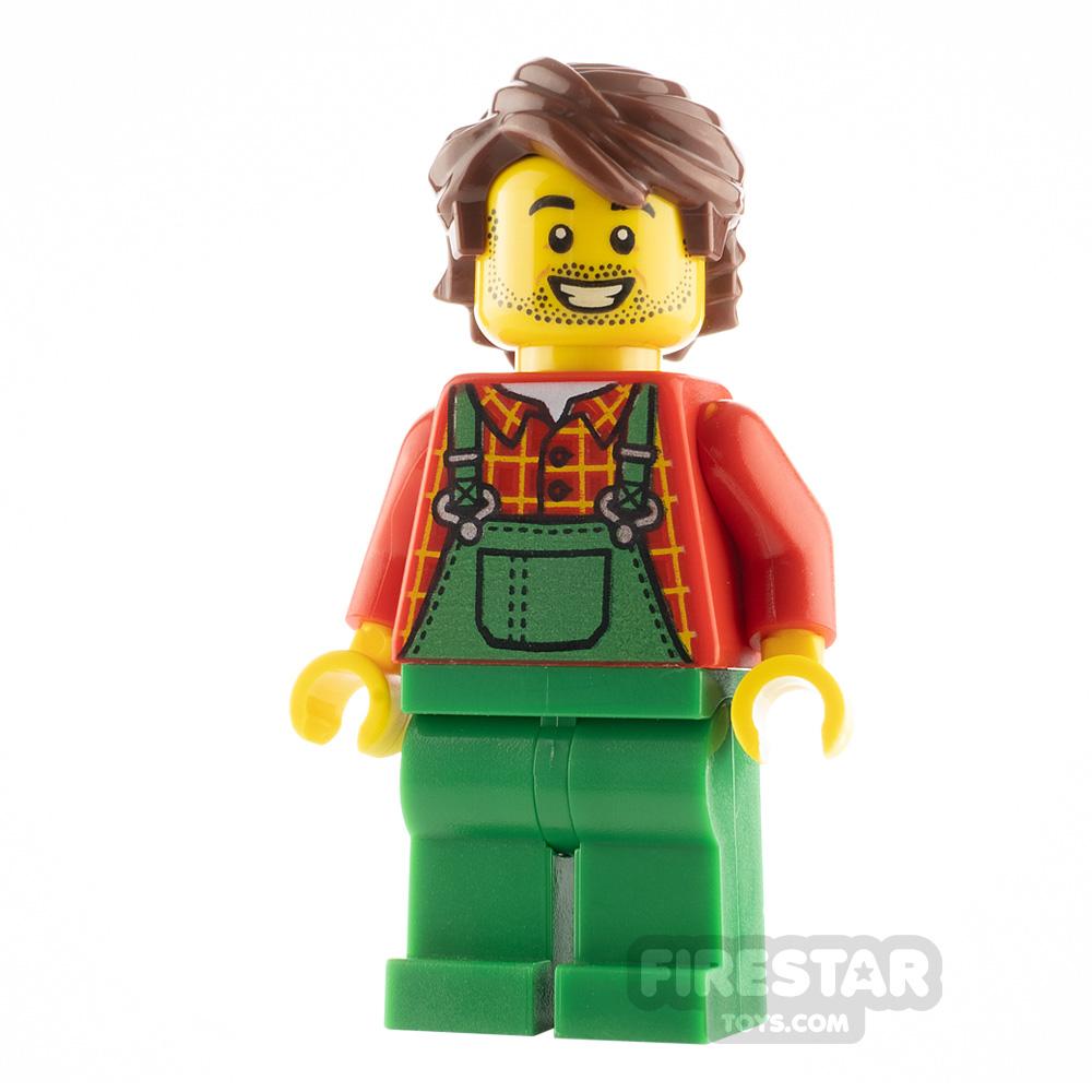 LEGO City Minfigure Farmer Red Plaid Shirt