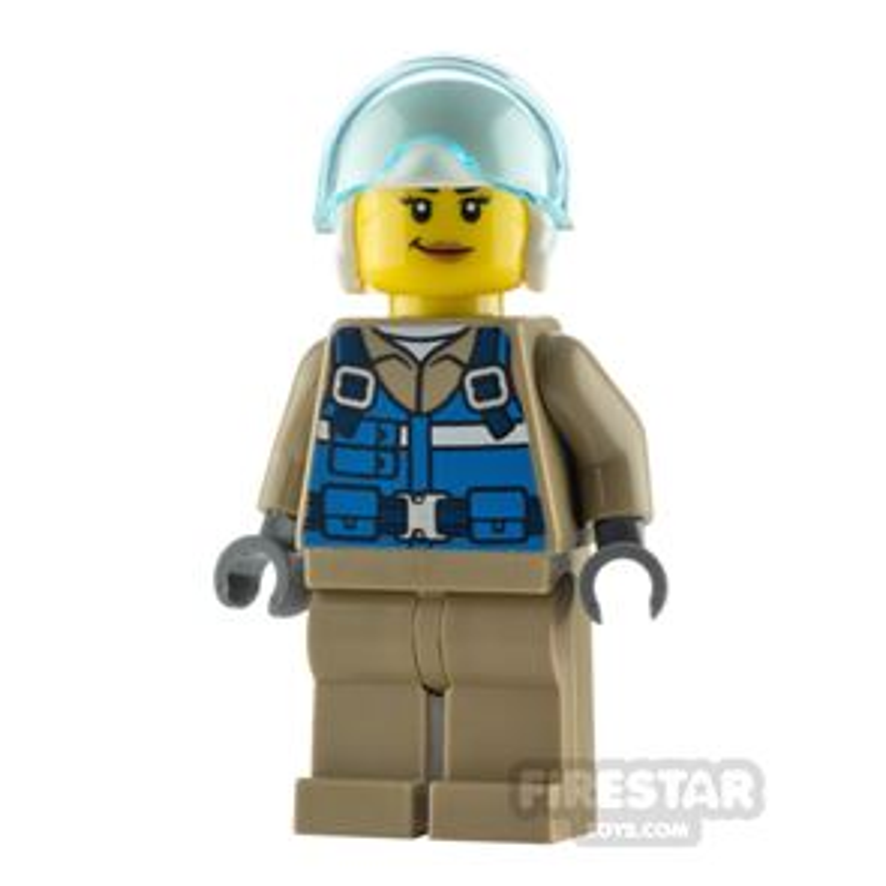 LEGO City Minfigure Wildlife Rescue Pilot Blue Vest and Smirk