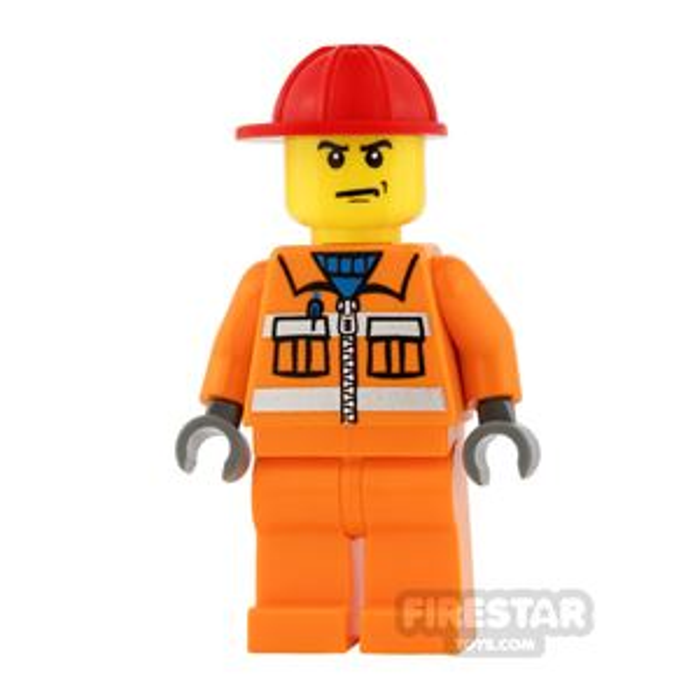 LEGO City Mini Figure - Construction Worker - Orange Overalls 17