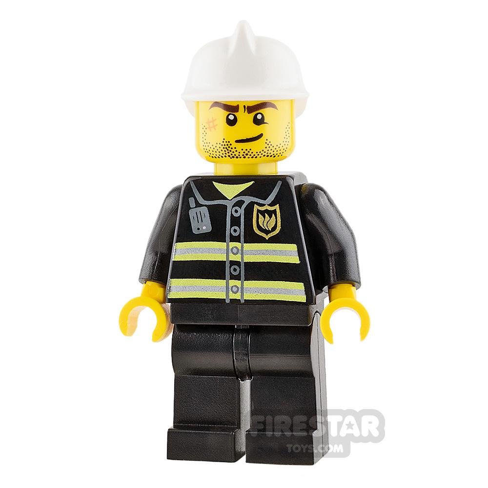 LEGO City Mini Figure - Fireman - Crooked Smile with Scar