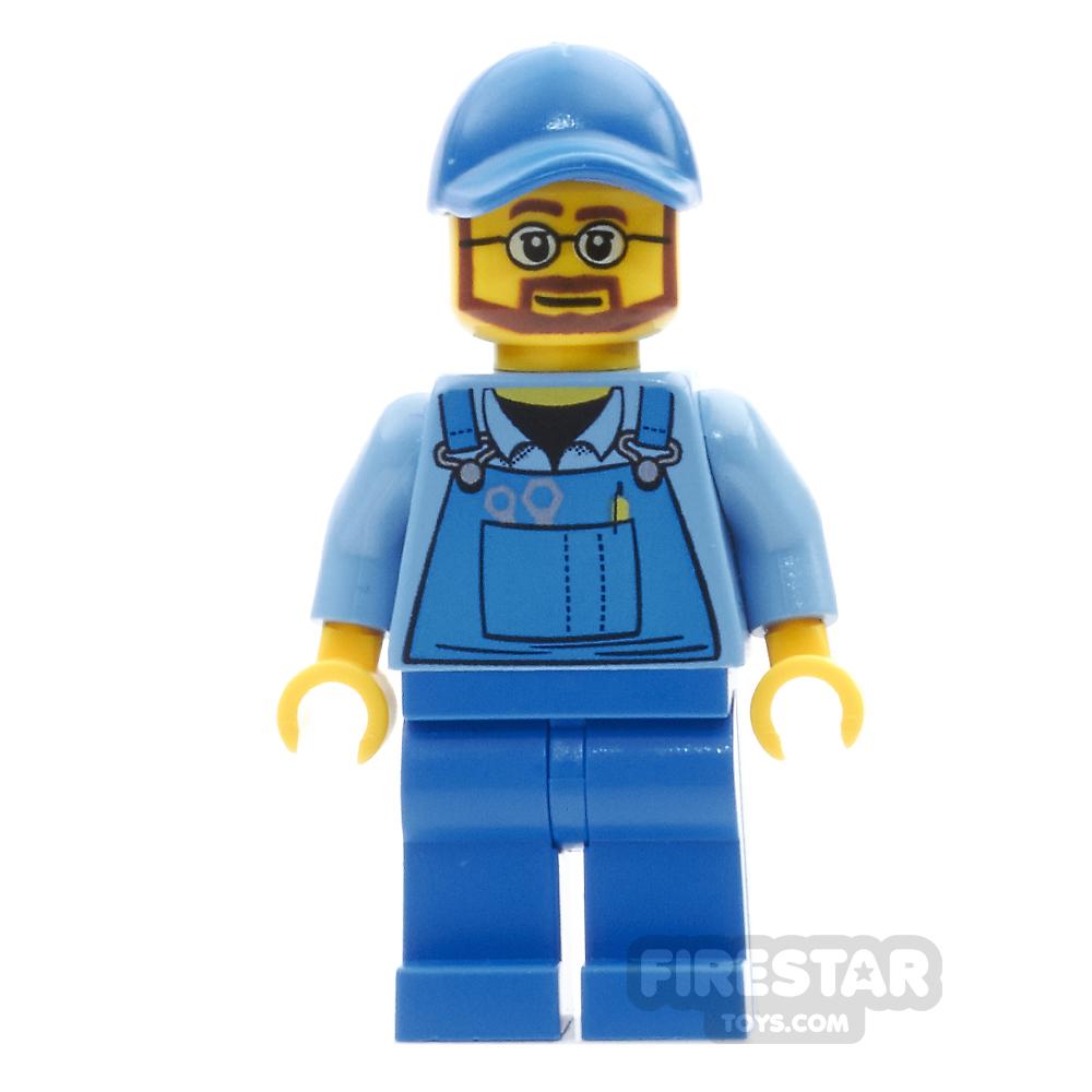 LEGO City Mini Figure - Blue Overalls - Beard And Glasses