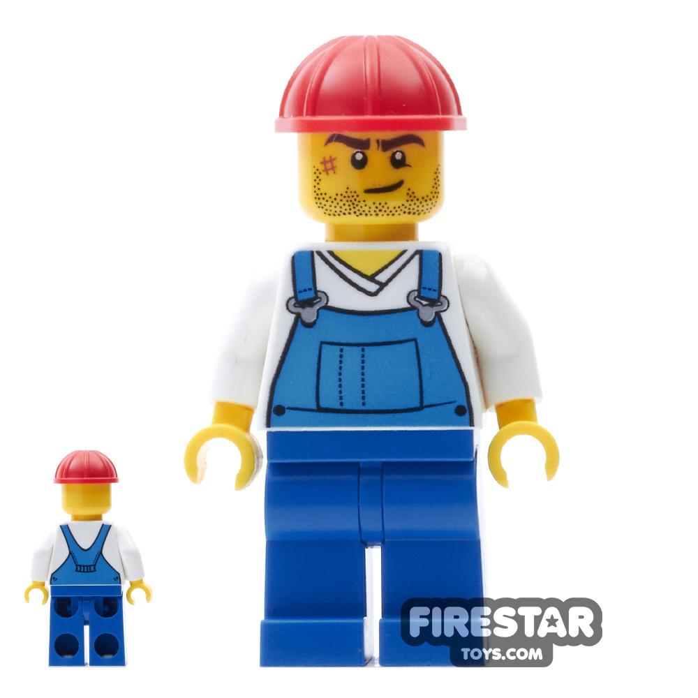 LEGO City Mini Figure - Blue Overalls - Helmet and Scar