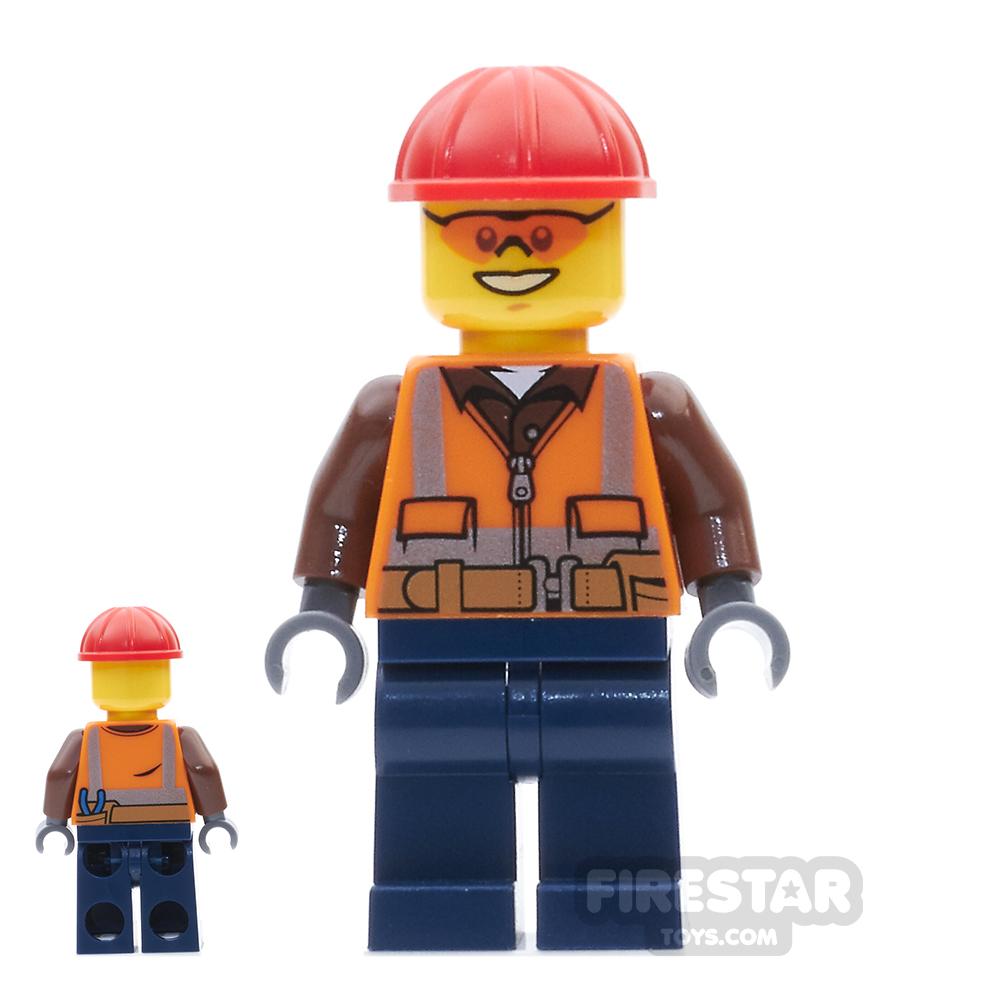 LEGO City Mini Figure - Construction Worker  - Orange Sunglasses And Vest