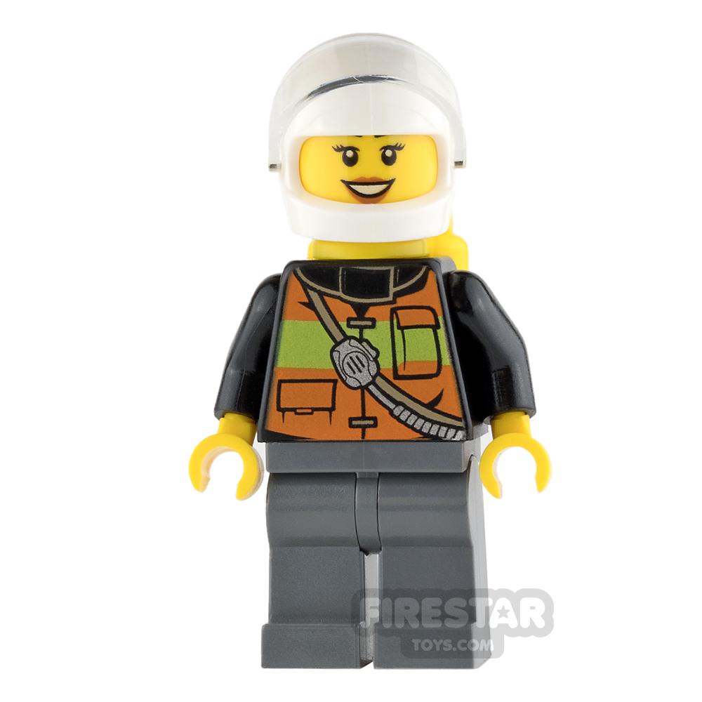 LEGO City Mini Figure - Firewoman - Airtanks and Peach Lips