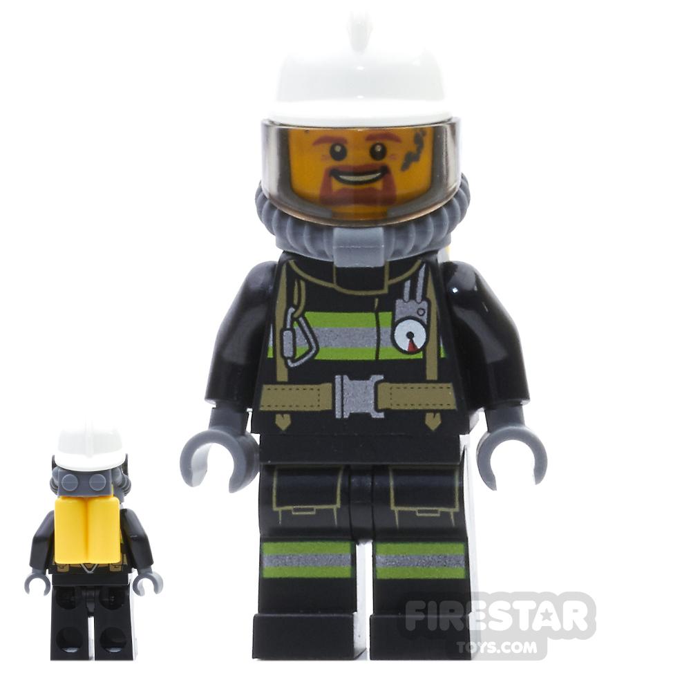 LEGO City Mini Figure - Fireman - Goatee And Soot Marks