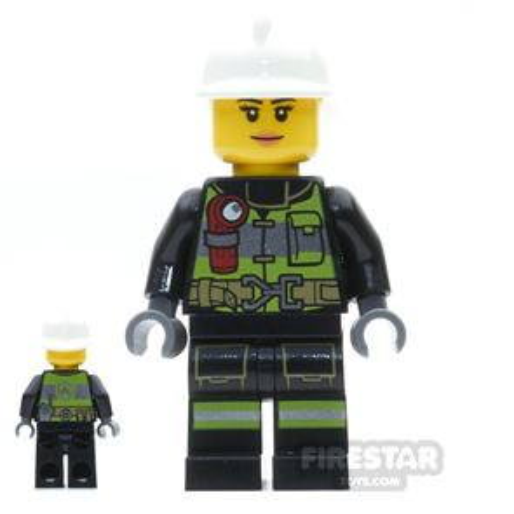 LEGO City Mini Figure - Firewoman - Utility Belt and Flashlight