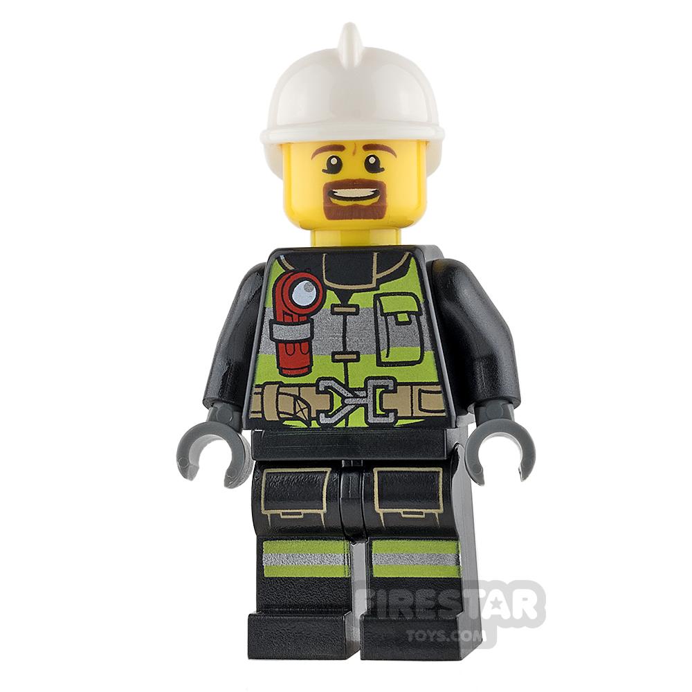 LEGO City Mini Figure - Fire - Reflective Stripes with Utility Belt and Goatee