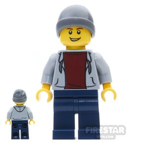 LEGO City Mini Figure - Boy With Gray Hoodie And Beanie
