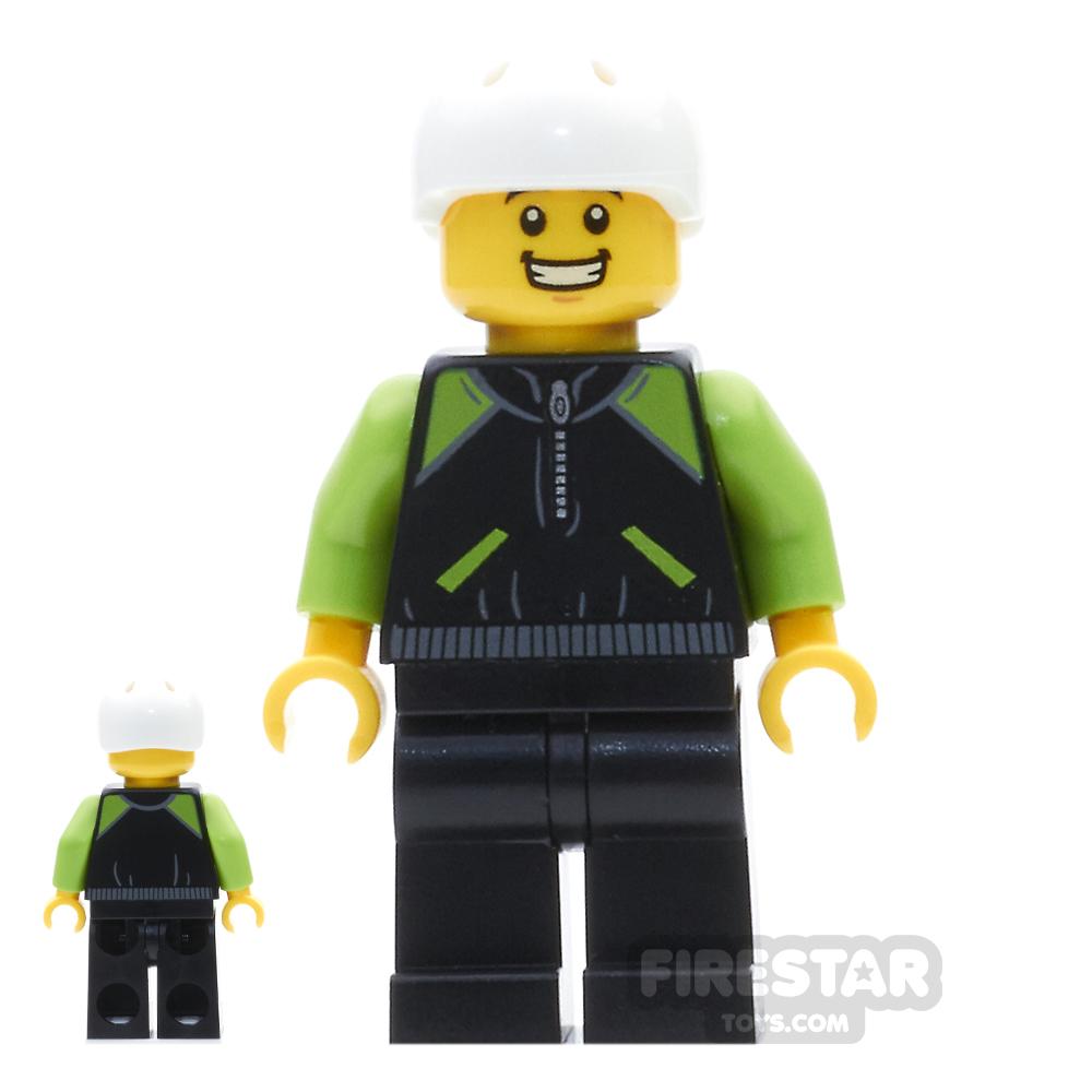 LEGO City Mini Figure - Cyclist - Lime and Black Jacket