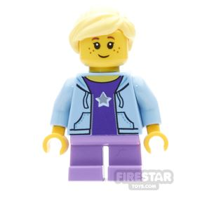 LEGO City Mini Figure - Girl With Star Top And Medium Lavender Legs