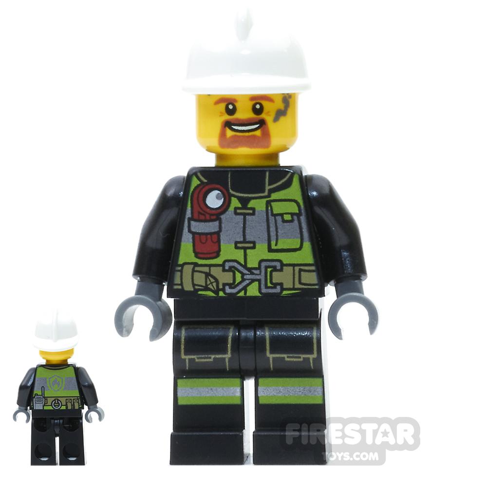 LEGO City Mini Figure - Fireman - Utility Belt and Flashlight - Soot Marks