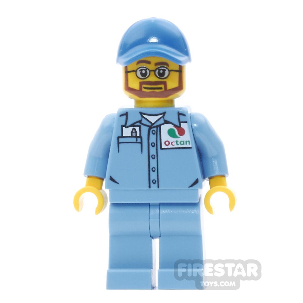 LEGO City Mini Figure - Medium Blue Octan Shirt, Glasses and Beard
