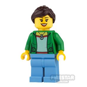 LEGO City Mini Figure - Open Jacket with Necklace and Medium Blue Legs