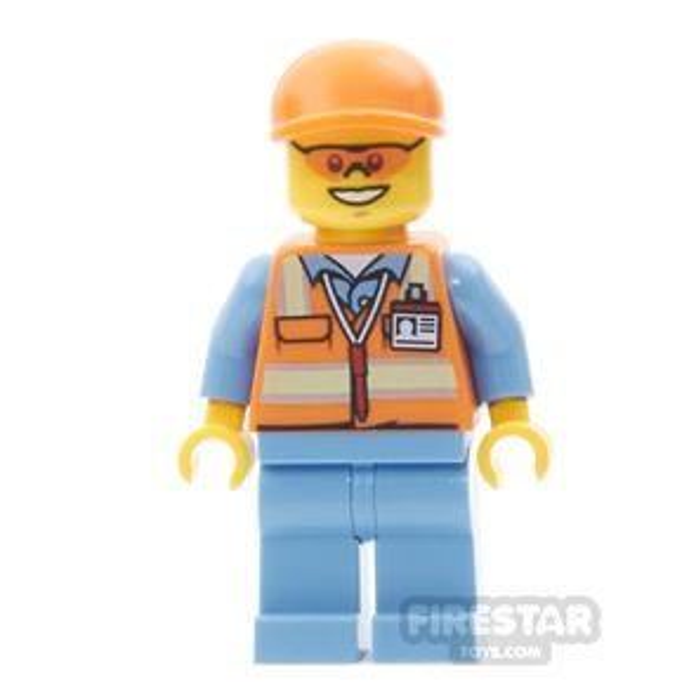 LEGO City Mini Figure - Orange Safety Vest with Orange Cap