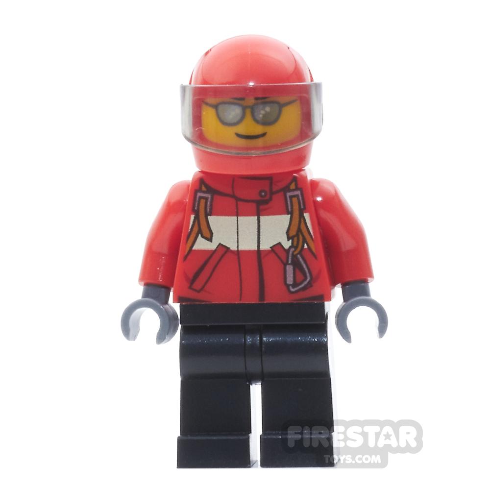 LEGO City Mini Figure - City Pilot Male, Red Fire Suit with Black Legs