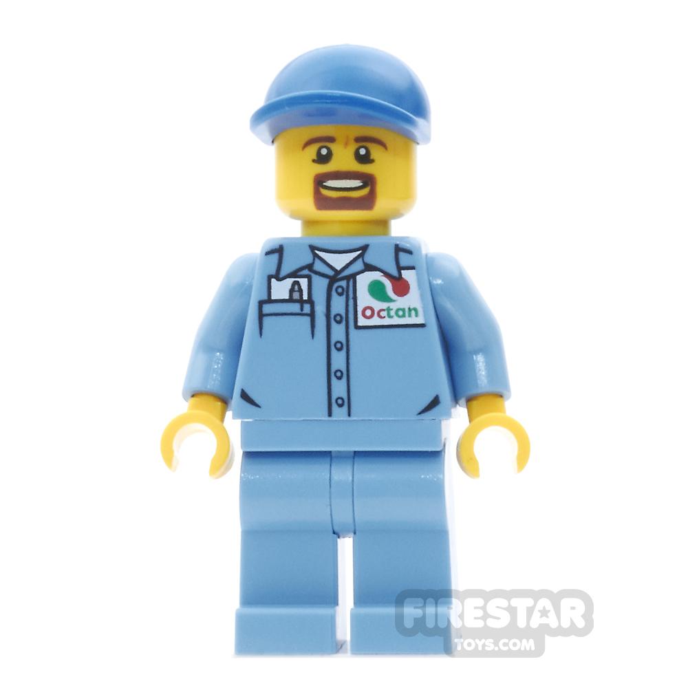 LEGO City Mini Figure - Medium Blue Shirt with Pocket and Octan Logo
