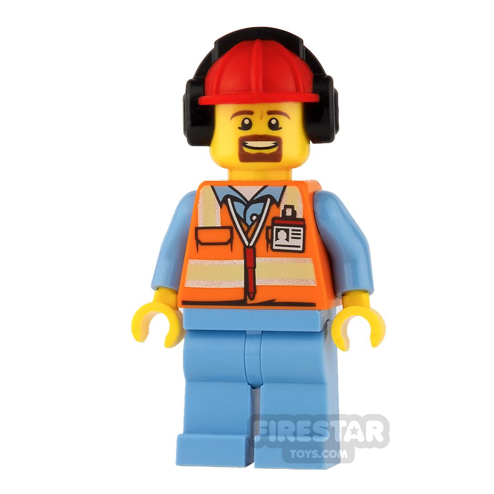 LEGO City Mini Figure - Orange Safety Vest with Goatee