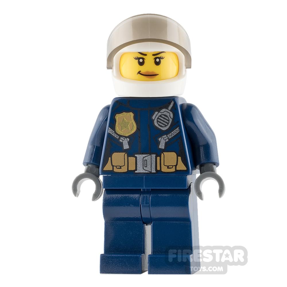LEGO City Mini Figure - Helicopter Pilot - Female with Peach Lips Smirk