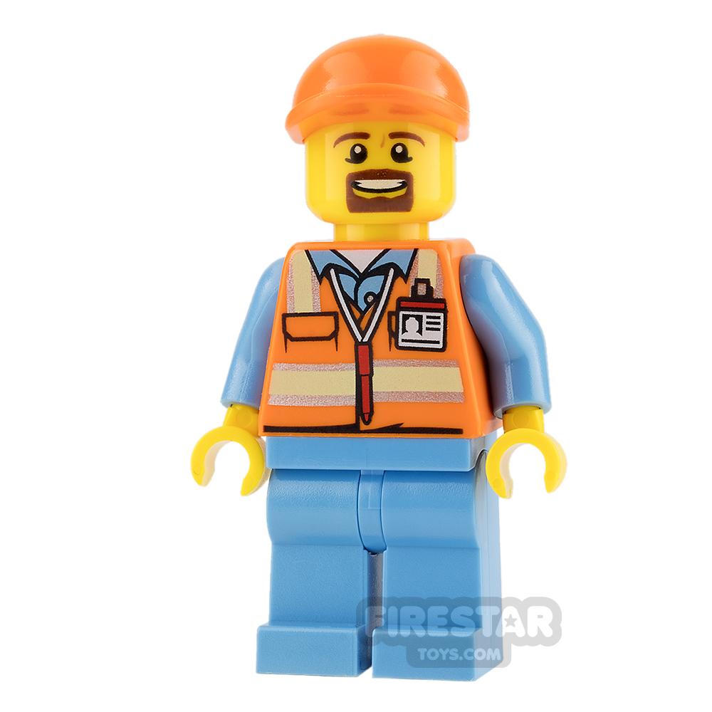 LEGO City Mini Figure - Orange Safety Vest and Goatee