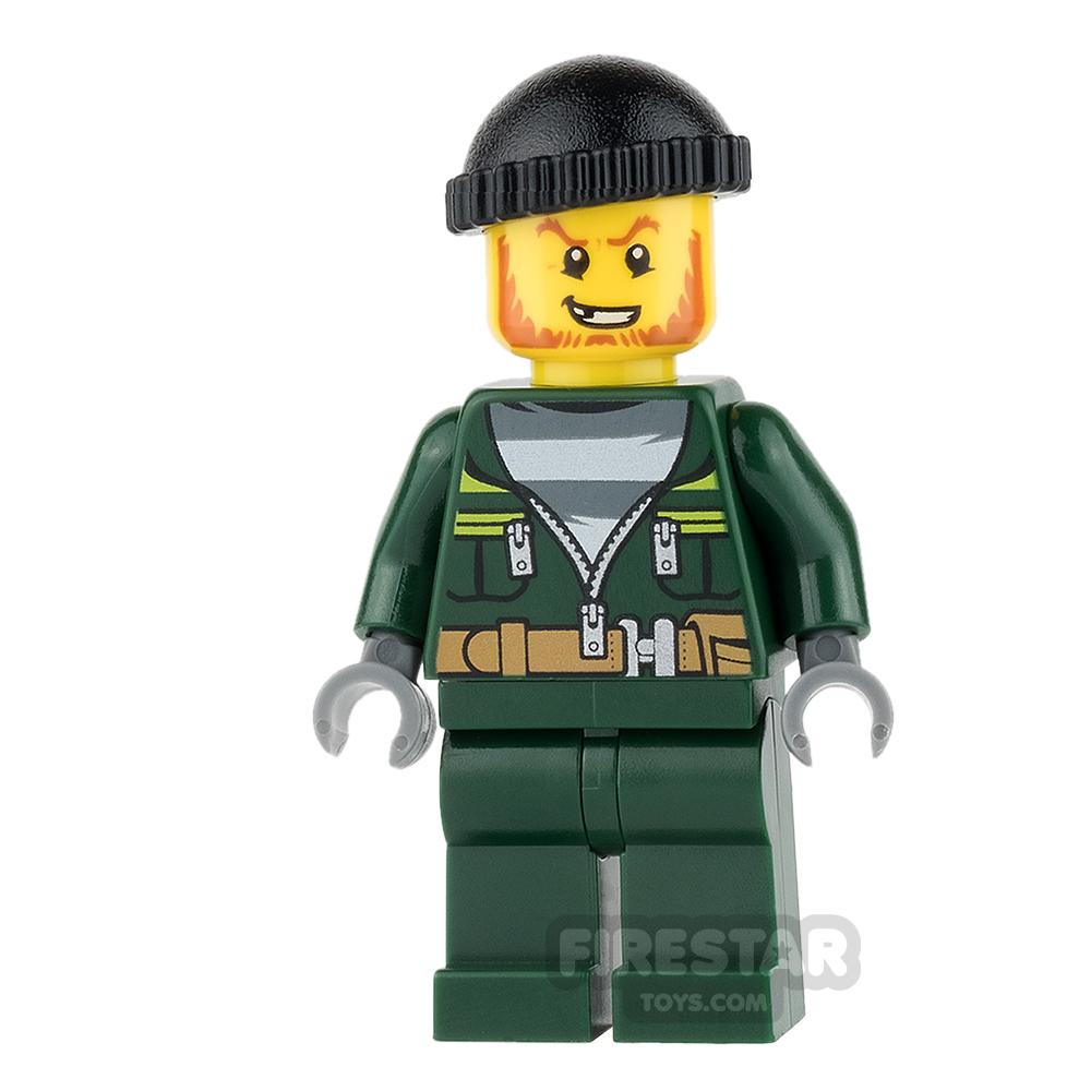 LEGO City Mini Figure - Bandit - Dark Green Zip Jacket and Knit Cap