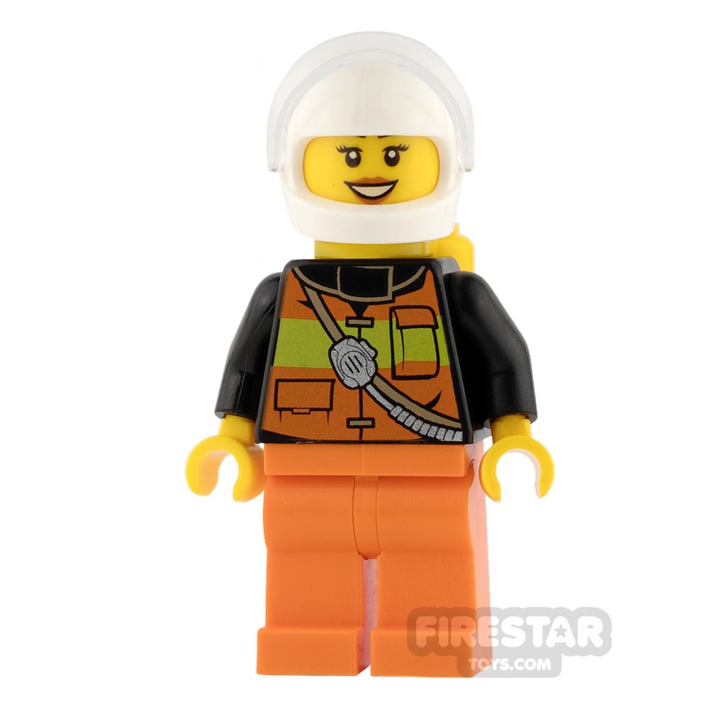 LEGO City Mini Figure - Firewoman - Orange Legs