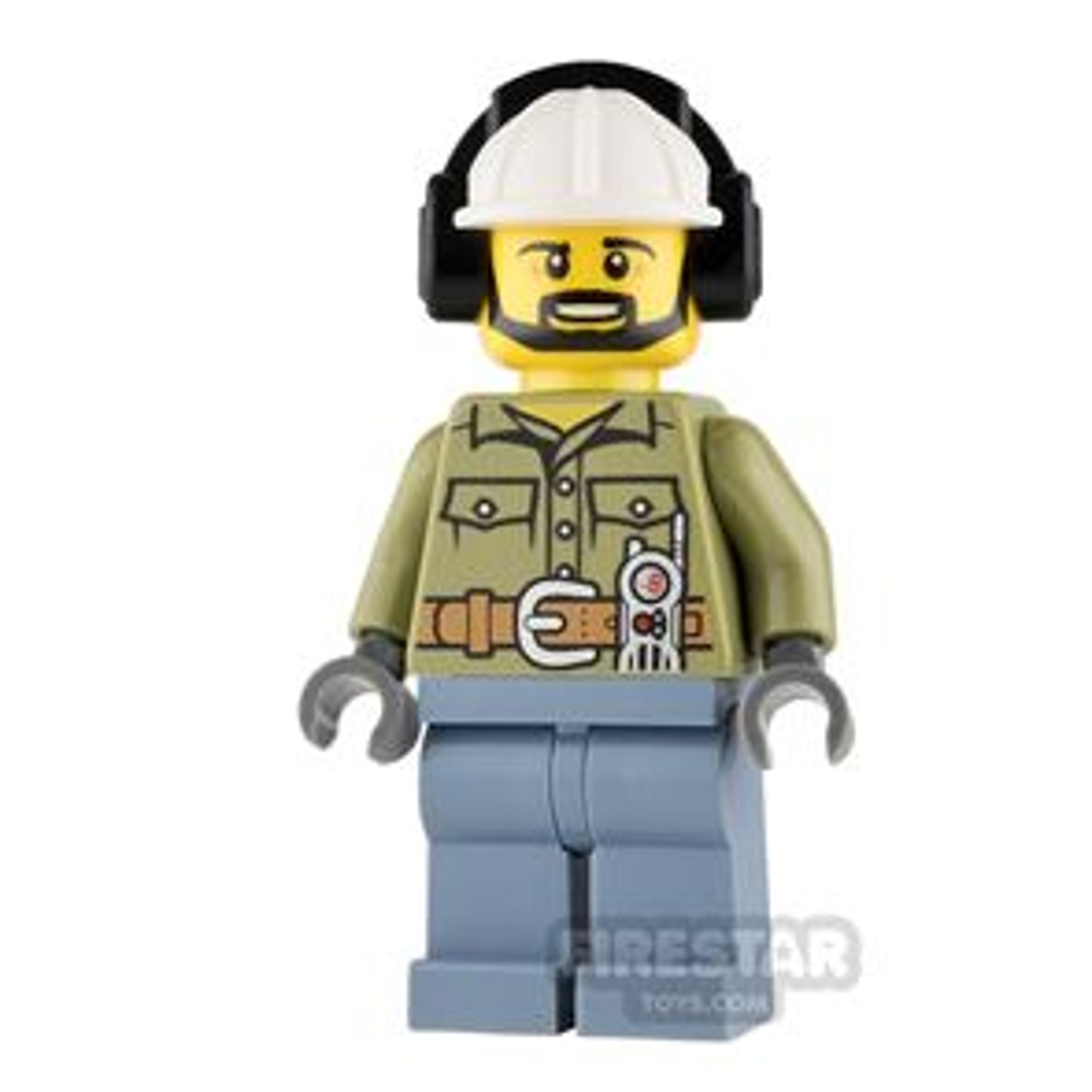 LEGO City Mini Figure - Volcano Explorer - White Helmet with Ear Protectors