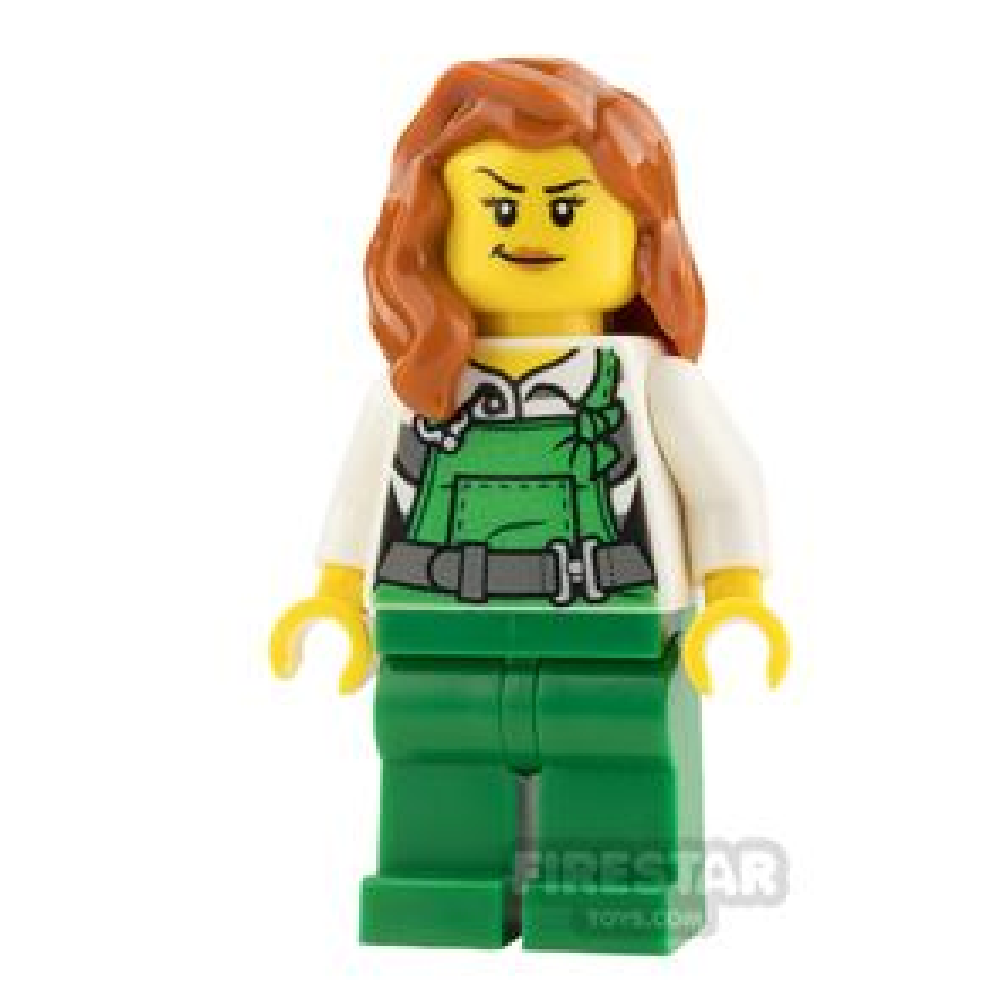 LEGO City Mini Figure - Female Bandit - Green Overalls