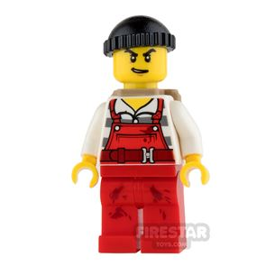 LEGO City Mini Figure - Bandit - Red Overalls with Backpack