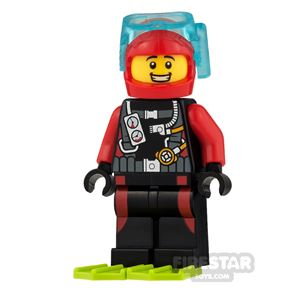 LEGO City Mini Figure - Diver With Lime Flippers