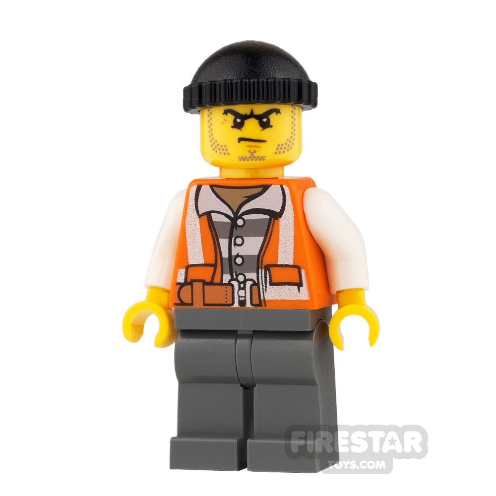 LEGO City Mini Figure - Bandit - Orange Vest and Knit Cap