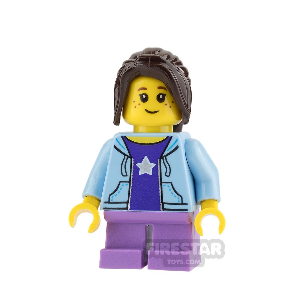 LEGO City Mini Figure - Bus Passenger - Bright Light Blue Hoodie