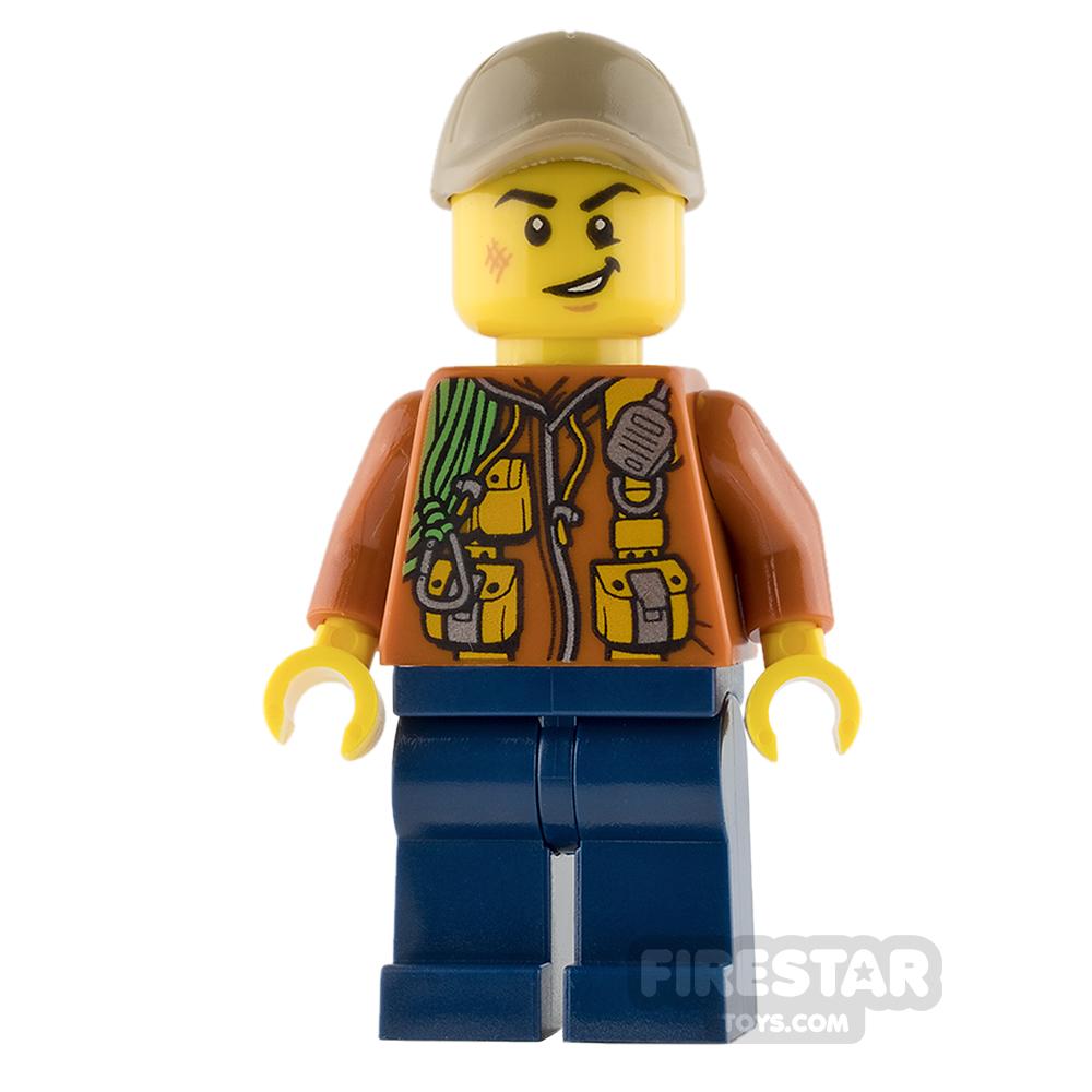 LEGO City Mini Figure - Jungle Explorer - Orange Jacket with Smile