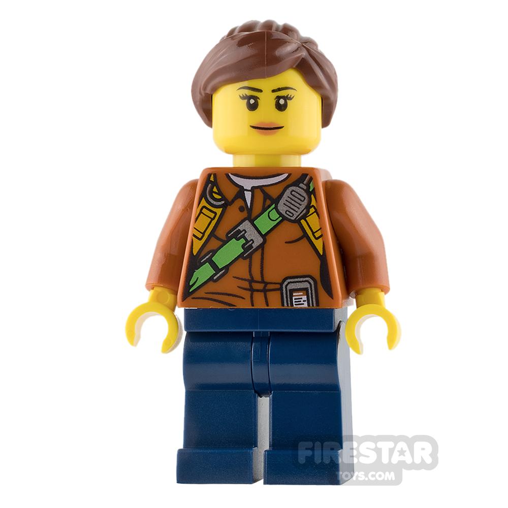 LEGO City Mini Figure - Jungle Explorer - Orange Shirt with Ponytail