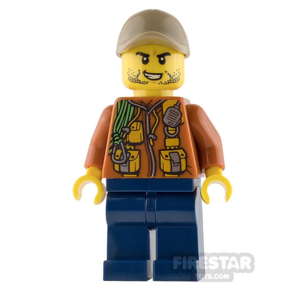 LEGO City Mini Figure - Jungle Explorer - Orange Jacket with Stubble