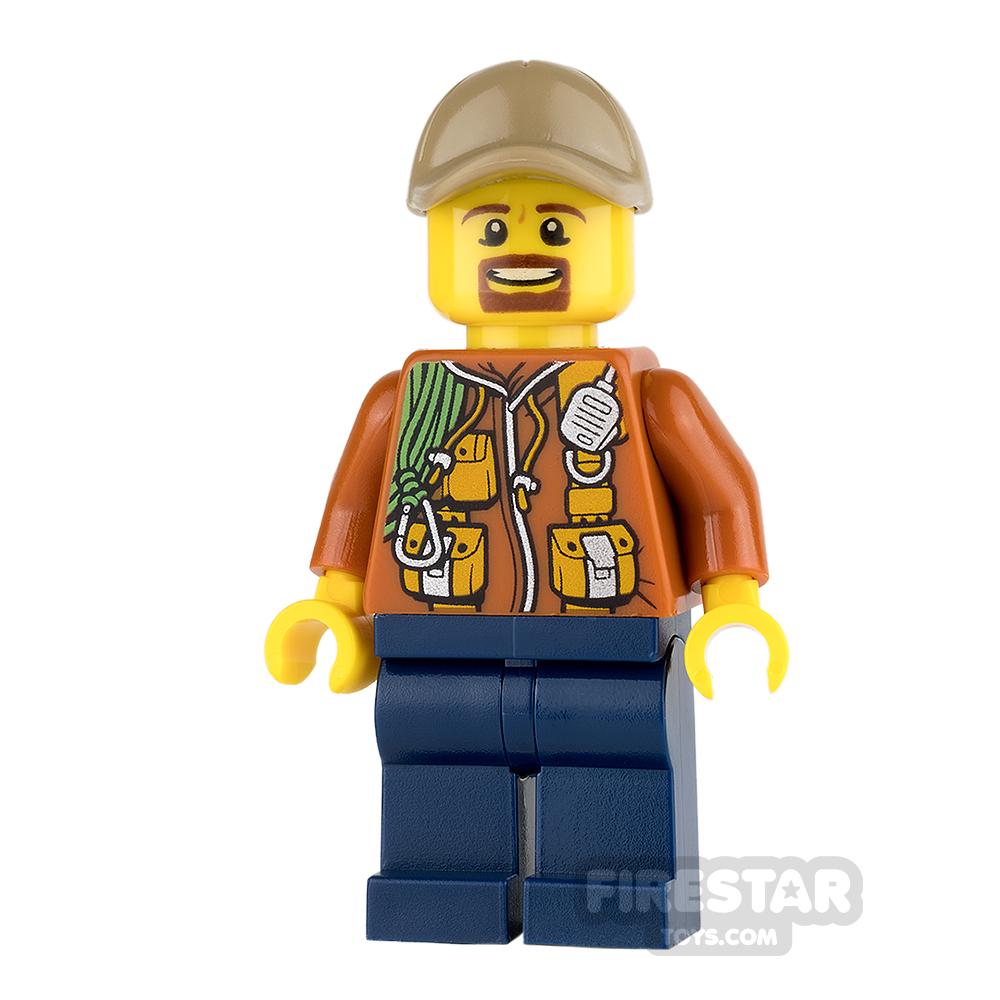 LEGO City Mini Figure - Jungle Explorer - Orange Jacket and Brown Beard