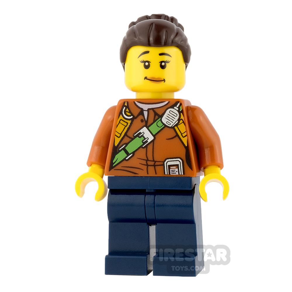 LEGO City Mini Figure - Jungle Explorer - Orange Shirt with Lopsided Smile