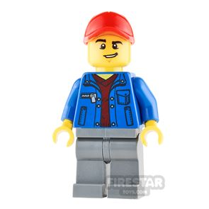 LEGO City Mini Figure - Truck Driver - Blue Jacket and Lopsided Grin