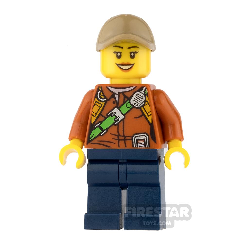 LEGO City Mini Figure - Jungle Explorer - Orange Shirt with Smile