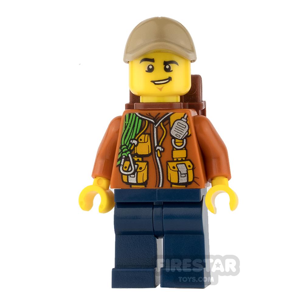 LEGO City Mini Figure - Jungle Explorer - Orange Jacket with Lopsided Grin
